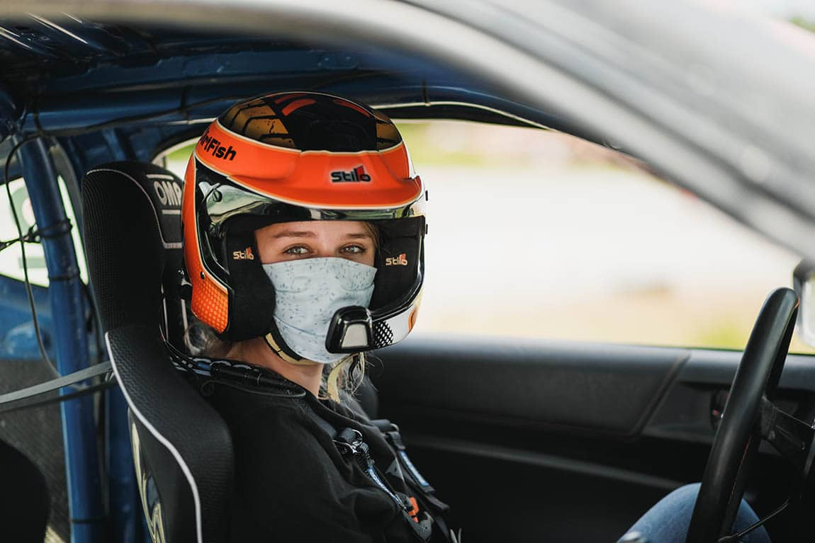 dirtfish student face mask in car