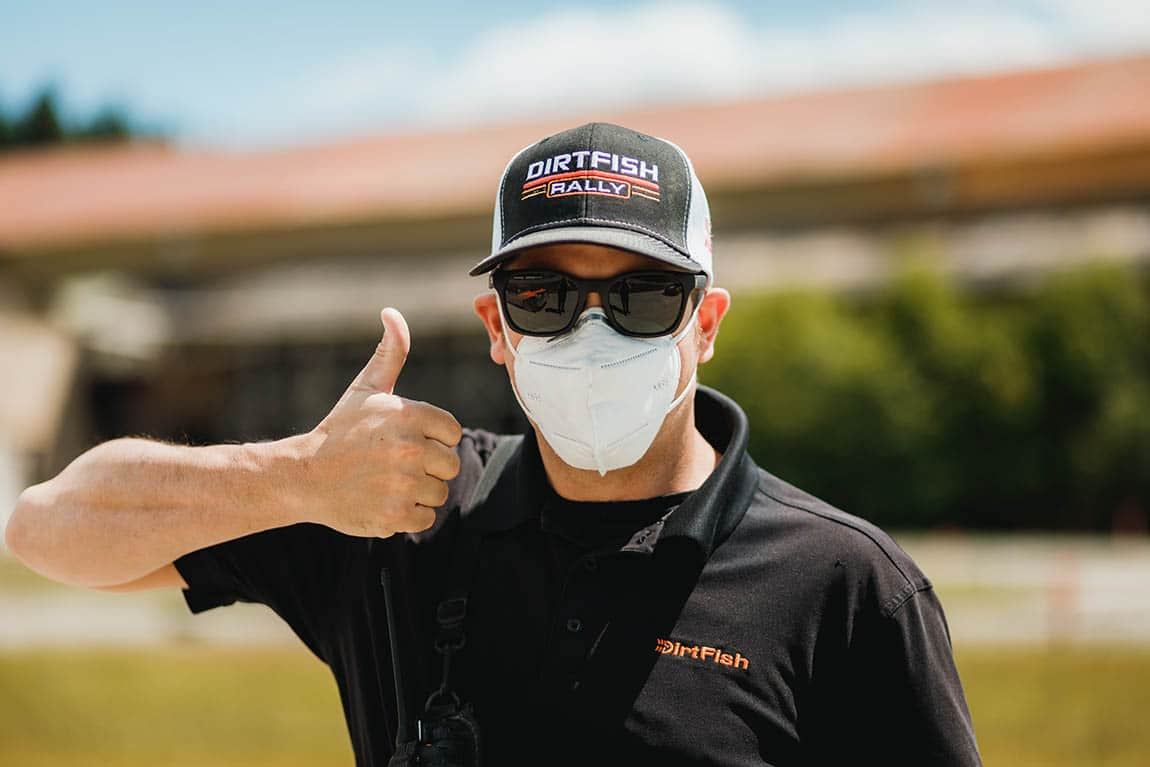 dirtfish instructor with mask thumbs up